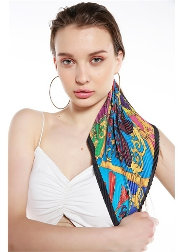 Y-London 13742-1 Versace Desen Plise Fular Renkli